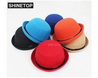 Wholesale Fedoras women caps hats perfomance gifts Jazz Dance Derby Vintage Wool Felt Bowler Brand girls Trilby solid beach Strange new top hat