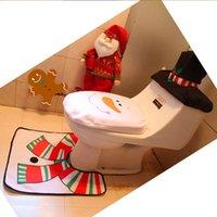 bathroom tissues - Christmas Decoration Bathroom Toilet Seat Covers with Christmas Snowman Pattern Toilet Cover Seat Cover Tissue Box Rug Bathroom Mat Set