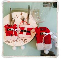 Wholesale 100pcs Handmade Lovely Clothes Pants Shaped Christmas Cutlery Suit Silverware Holder Knives and Forks Pockets