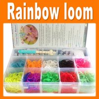 Wholesale Rainbow Loom Bands Kit in lattice Clear Big Plastic Box For Kids DIY Bracelets funny toys for kids1705006