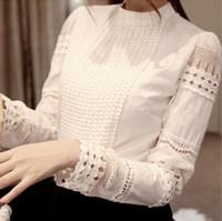white blouses - 2015 Spring Autumn Woman White Blouses Plus Size Women s Blouse Elegant Lace Crochet Hollow Slim High Quality Chiffon Blusas Blouse Shirts