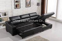 genuine leather sofa - UK Modern Style Top Genuine Leather Corner Sofa Bed Function Leather Couches various colors can choose Standard Export Package