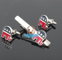 Wholesale usa new republican party cufflinks and tie clip set for mens high quality shirt jewelry cuff link clips sets