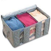 clothes closet organizer - 65L Foldable Storage Bag Clothes Blanket Closet Sweater Organizer Box Charcoal Large Volume