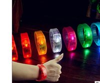 Wholesale Sound Controlled Voice activated LED Light Up Bracelet Bangle flash wristband mixed colors