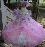 little girls beautiful dresses - 2015 New Beautiful Flower Girl Dresses with Crystals Beads Pink Little Girls Pageant Cupcake Dresses Handmade Flowers