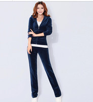 Wholesale 2015 Women s new spring velvet track suit sportswear Spring and Autumn Sweater