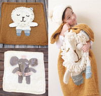 Wholesale new baby Blankets newborn swaddle wrap quilts cartoon animals Hand knitting blankets for children three dimensional baby Nursery Bedding