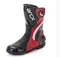 Wholesale New shipping breathable motocross racing shoes boots men riding special protective footwear leather red orange