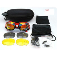 Wholesale Cycling Sunglasses Goggle Brand Red Black Frame Top Quality Sunglasses Colorful lenses Extra Pairs Lens Outdoor Sport Glasses on Sale