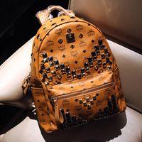 mcm backpack - 2014 Fashion brand designer MCM Men backpacks Korean star EXO style women shoulder bags girls boys hiking biking leather bag size AXB00070