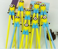 Wholesale 2016 New Super Cute Despicable Me Minions Chopsticks pairs Cartoon Design Children Kid Baby Early learning chopsticks