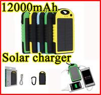 battery powered led light panel - 12000mAh Solar Charger Dual USB LED Light Battery Portable mAh Solar Panel power bank External Battery Waterproof Dustproof Shockproof
