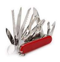 Wholesale 2014 Red Swiss Champ mm Switzerland Stainless Steel Knife Multifunctional Folding Army Knives Outdoors Switzerland Saber Survival Knife