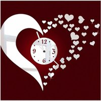 Wholesale Mirror Heart Wall Clock Modern Design Quiet D DIY Acrylic Set Art Stickers Home Decoration For Livingroom Z00427