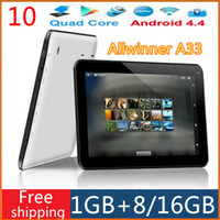 Wholesale 10 quot inch A33 Allwinner Quad Core GHz Android Kitkat G GB GB Dual webcam Wifi Bluetooth Tablet pc A31S A23
