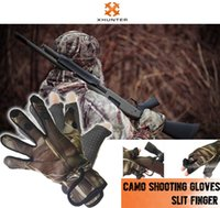 Wholesale Xhunter Camo Gloves Split Finger for Gun Trigger Shooting Archery Anti skidding