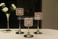 Wholesale 2015NEW metal silver finish candle holder with crystals wedding candelabra centerpiece set candlestick