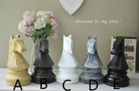 antique wood finishing - Modern Creative Lifelook Antique Finish Geometry Simulation Chess horse Resin Craft Miniature Figurines Home Decoration Gift