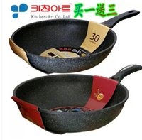 Wholesale South Korean medical stone titanium frying pan smoke free cooking pot induction cooker with flat single spoon cm
