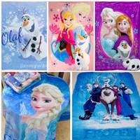 Wholesale New Elsa Anna Olaf Frozen Blanket Blue Purple Frozen Movie Blanket for Kids Silk Touch Fleece Blanket x130cm