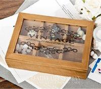 Wholesale zakka glass jewelry box wooden storage box vintage jewelry MM401 home storage box