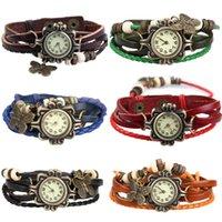 Wholesale 2015 Brand New Fashion Girl Lady Retro Bracelet Quartz Battery Wrist Watch Twisted Braid Strap Multicolor