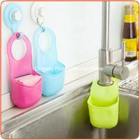 Wholesale Creative sink Basket snap shelf kitchen sink sponge pouch hanging multi draining rack factory drop ship