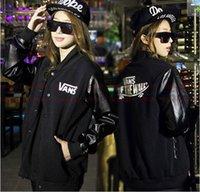 Cheap Fashion Brand Autumn Women Coat Cool Varsity Jacket Punk Wind PU Sleeve Lover's Clothes Baseball Jacket Plus Size