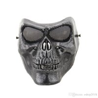 Wholesale Full face gold silver masquerade Airsoft mascara terror Skull mask Warrior armor carnival Paintball biker mask scary Halloween Horror Mask