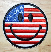 Appliques american flag smiley - Smile Face Smiley American USA Flag Biker Patch Puck Applique Iron on Pathes or Sew on Clothes