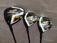 Wholesale Left handed golf clubs X2 hot driver loft x2 hot fairway woods R flex free headcovers