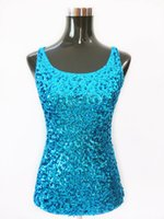 Wholesale Women s Summer Tank Top ladies sequin vest tops White Black Gold Blue Womens Shining Bling Sequined Tops Sleeveless Vest T shirt for women