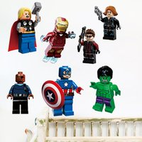 Wholesale 3D The Lego Movie Avengers Super Heroes Wall Stickers for Kids Boys Rooms Decorative Wall Decals Art Poster Wallpaper Home Decoration
