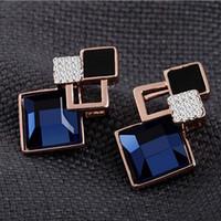 Wholesale Women Fashion Trendy Jewelry Elegant Shiny Crystal Gemstone Blue Plant Studs Earrings
