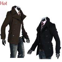 Wholesale Men Korean Coats Male Wild Men Double Breasted Wool Jacket Woolen Jacket Black Brown Turn down Collar Simple Solid Coats Brown Black
