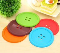 Wholesale Candy Colors Button Coaster Coffee Cup Mats Pads Round Protective Tea Cup Coaster Creative Silicone Coasters Household Supplies Cup mat