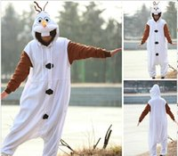 Wholesale New Atrrival Anime Cosplay Frozen Olaf Snowman Cos Pajamas Adult Women Men Unisex Onesie Party Costumes Halloween Dresses