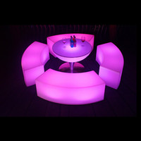 Wholesale wonderful plastic multi colors lighting up glow illuminate led bar furniture long curved bench for outdoor garden party event