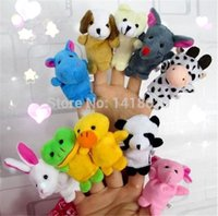 Wholesale New set Cartoon Velvet Finger Animal Puppet Play Game Learn Story Baby Toys Dolls