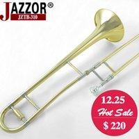 Trombone Tenor professionnel JAZZOR JZTB-310 B Corde ténor plat avec embout trombone et gants Instruments à vent en laiton doré
