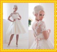 fashion lace ribbon - 2015 Fashion Short Wedding Dress High Neck Short Sleeve V back Lace Ribbon Bows A line Knee length Wedding Bridal Dress Gowns Custom