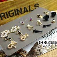 mask earrings - arrings Stud Earrings sets Fashion Women Stud Earrings Jewelry Cross Bow Crown Mask Heart Flower Tiny Piercing Post Earring Girls C