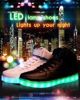 Cheap Big yards colorful glowing shoes LED luminous couples lovers hip-hop sneakers USB charging high fluorescence for leather sandals free shippi