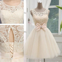 Wholesale Short Tulle Lace Up Dress - 2016 Champagne New Arrival Short Wedding Dresses bridesmaid dresses Knee Length Tulle Wedding Gown Lace-up With Bow free shipping custom
