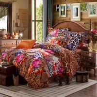 art duvet - Warm cotton sanding bedding set twill classic art duvet cover europe fashion flowers bed sheet bed linens home textile