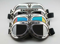 aviator yellow - Aviator Pilot Cruiser Motorcycle Scooter ATV Goggle Eyewear T08Y Five Lens Clear Smoke Colorful silver Yellow