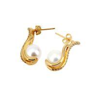 Wholesale Christmas Gifts Lady Fashion Pearl K Gold dangle Earrings party Gift eardrop drop earrings Zero profit