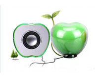 apple computers desktops - USB Mini Speakers Apple Colorful Led Crystal USB Wired PC Computer Speaker Subwoofer for Notebook Desktop Computers p0645