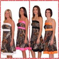 amazing bridesmaid dresses - 2016 Amazing Strapless Junior Camo Bridesmaid Dresses A Line Knee Length Bridesmaid Wedding Party Gowns Lace Up Custom In China Vestidos